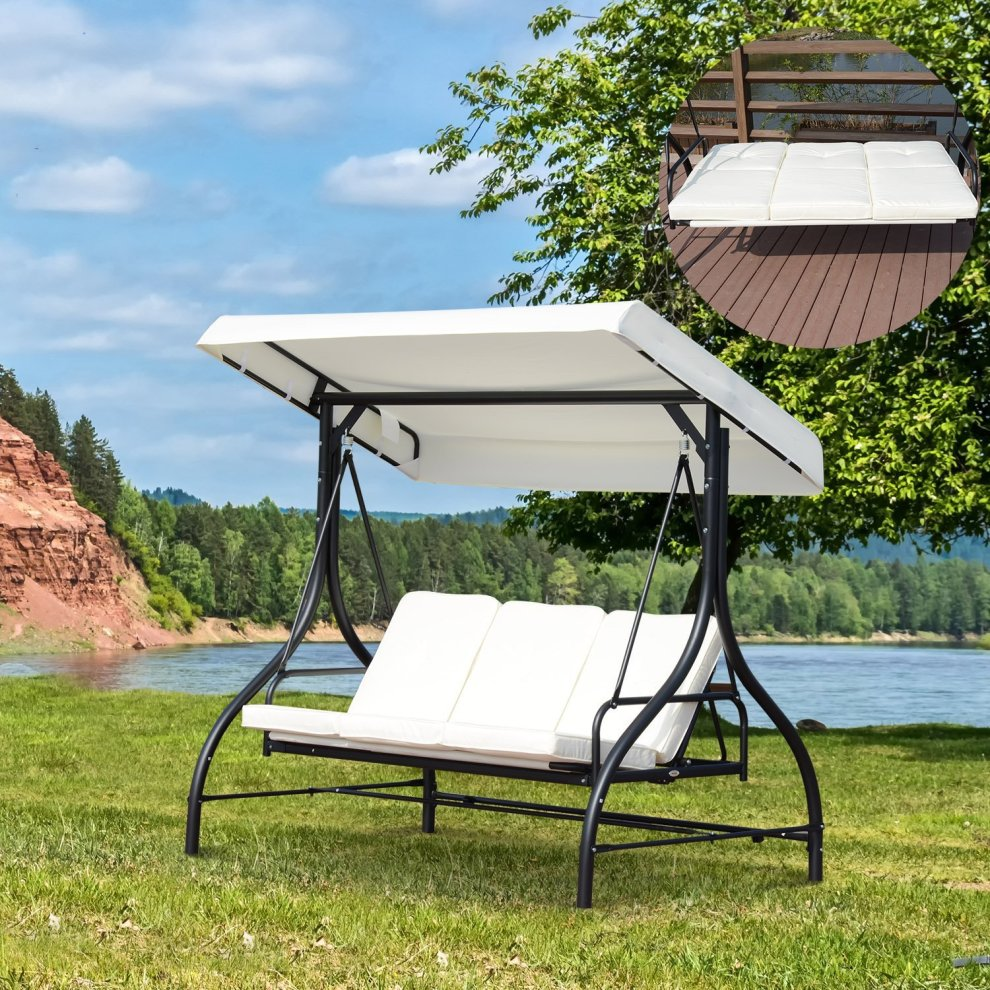 Outsunny 3 Seater Canopy Swing Chair Porch Hammock Bed Rocking Bench On