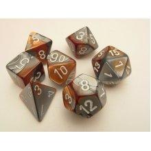 Chessex Gemini Polydice Set - Copper-Steel/white