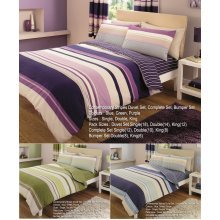 Contemporary Stripes Printed Duvet Cover Floral Bedding Set All Sizes