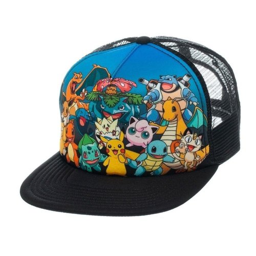 Pokemon Unisex Character Group Trucker Snapback Baseball Cap One Size - Black