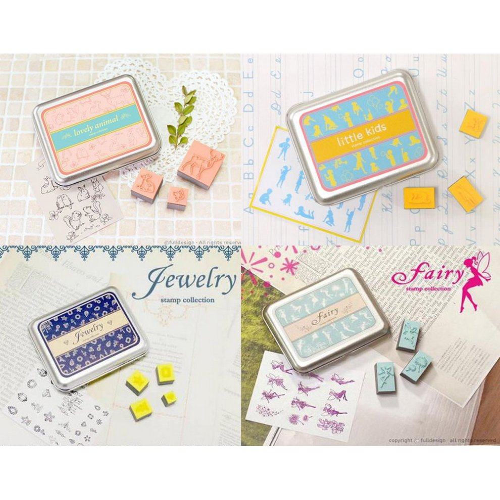 Set Of 4 Personalized Stamps With Tin Boxes Creative Diary Stamps Craft Supplies