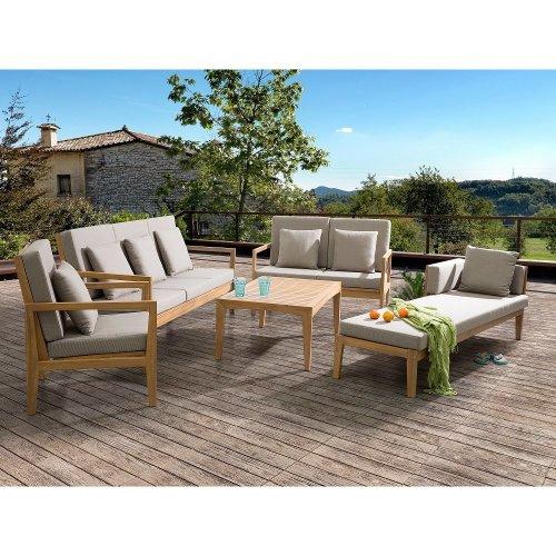 Sectional Outdoor Sofa Set - 5- Piece Patio Conversation Set with Lounger - Brown - PATAJA