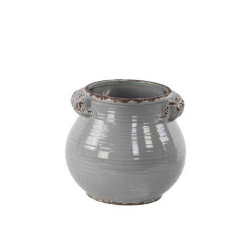 Urban Trends Collection 31818 Ceramic Tall Round Bellied Tuscan Pot with Handles - Distressed Gloss Grey, Large