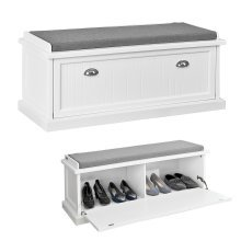 SoBuy® FSR41-W, Shoe Cabinet Shoe Bench Storage Bench with Seat Cushion