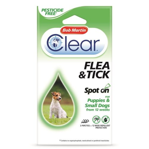 (12 Weeks) Bob Martin Clear Flea & Tick Spot On For Puppies & Small Dogs