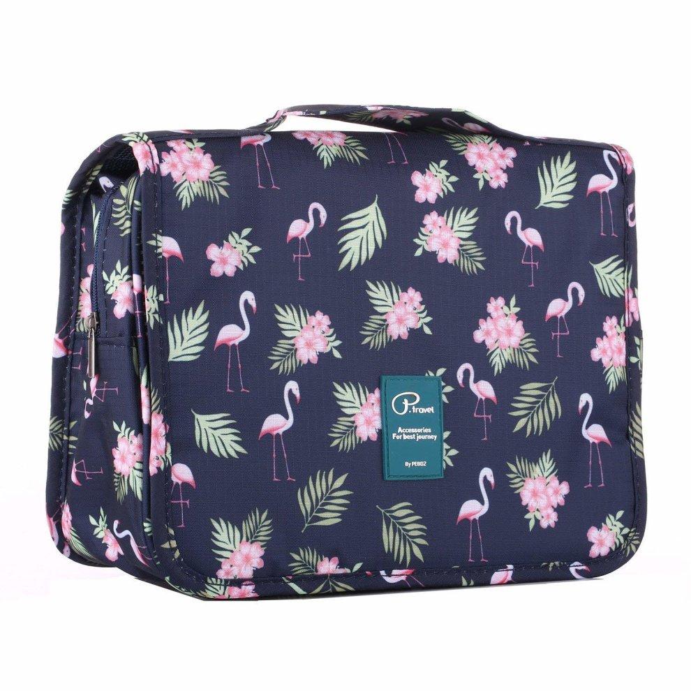 bd50be5282be Homchen Hanging Travel Toiletry Bag, Waterproof Folding Portable Cosmetic  Bag, Wash Bag for Men and Women (Flamingo Dark)