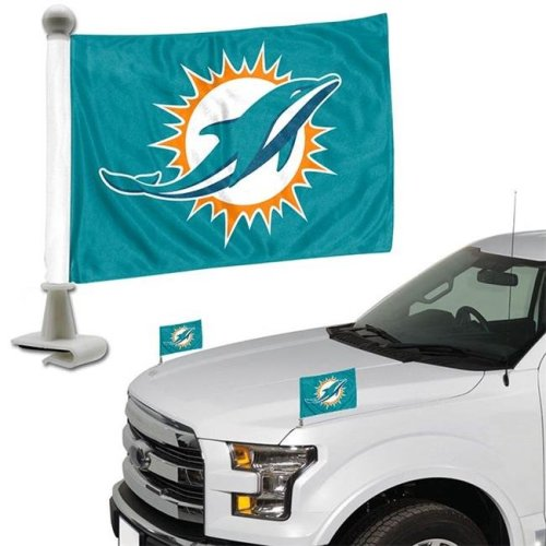 Team ProMark 84837 4 x 6 in. Miami Dolphins Ambassador Car Flag, Set of 2