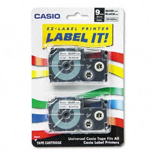 Casio XR9SR2S Tape Cassette for EZ-Label Kl100/780/7200/8100/c500  3/8w  Black/Silver  2/Pk