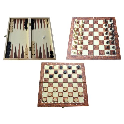 Shine 3 IN 1 Natural Wooden Folding Chess/Checkers/Backgammon Game