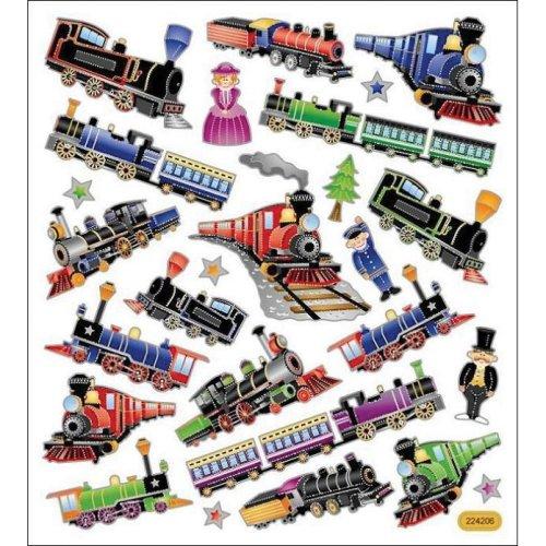 Multicolored Stickers-Trains