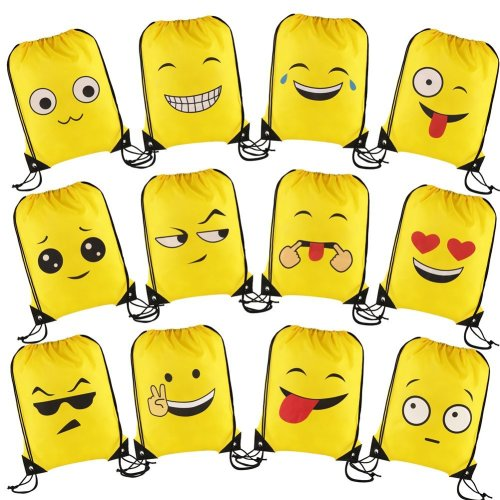 VEYLIN 12 Pack Kids Emoji Drawstring Backpacks 165 X 133 Inch Large Reusable Polyester Party Bags For Girls Boys Adults Birthday Gifts On OnBuy
