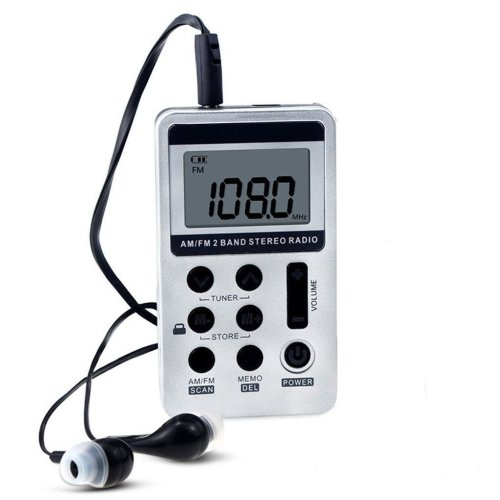 Am FM stereo personal radio with digital display and earphones