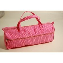Large Pink Polka Dot Knitting / Crochet / Craft Bag
