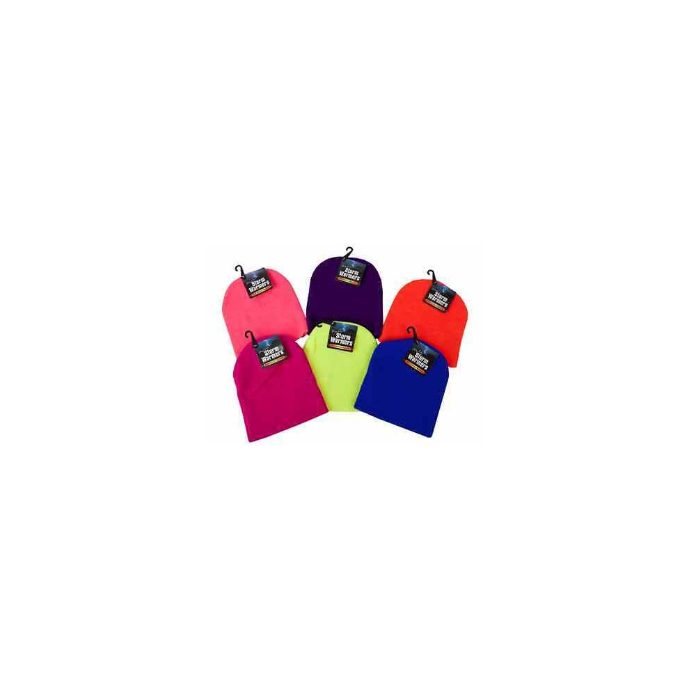0e1d86db32e39a 6ast Hot Colour Beanie Hats W/hang Tag And Hook - Hat Winter Neon Warmers. >