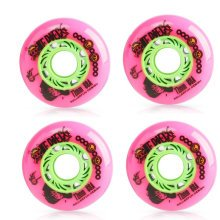 Set of 4 Skateboard Accessories Inline Skate Wheels with Bearings, Pink, 72MM