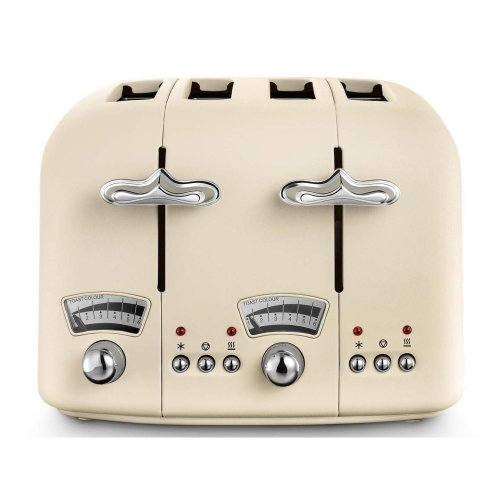 De'Longhi Argento Flora 4-Slice Wide Slot Toaster with Extra Lift - Beige/Chrome