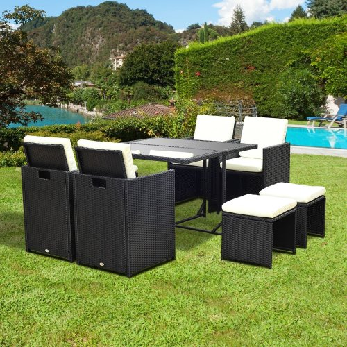 Outsunny 9pc Rattan Garden Dining Set | Black Outdoor Furniture Set