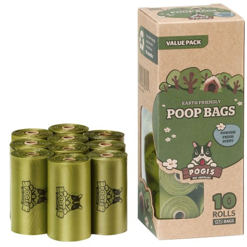 Pogi's Poop Bags - 10 Rolls (150 Bags) - Large, Biodegradable, Scented, Leak-Proof Dog Pooh Bags
