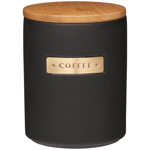 KitchenCraft MasterClass Airtight Stoneware and Brass-Effect Coffee Storage Canister, 1 Litre