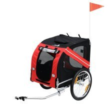 PawHut Folding Dog Carrier Bicycle Pet Trailer (Red & Black)