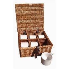 Drinks Basket 6 Cup Hamper in Dark Leather