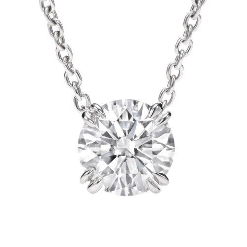 Solitaire G-Vs2 Round Diamond Necklace Pendant White Gold Jewelry