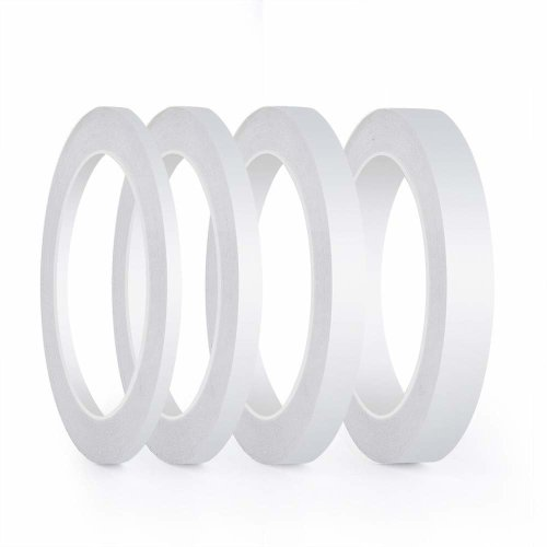 FEPITO 4 Rolls Double Sided Tpe Strong Adhesive Sewing Tape for Craft Class Office, 25 Meters each roll ( Width: 6mm/ 9mm/ 12mm/ 15mm)