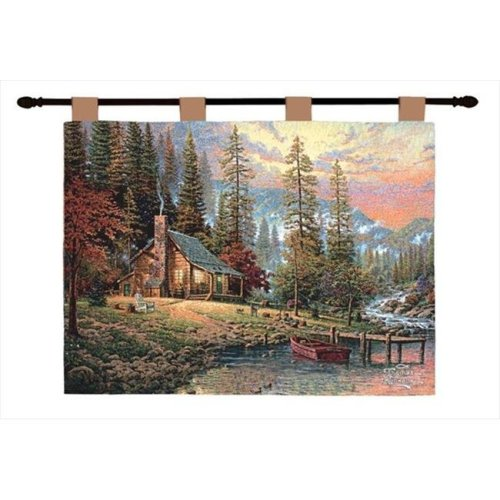Manual Woodworkers and Weavers HWTPR A Peaceful Retreat Tapestry Wall Hanging Horizontal 36 X 26 in.