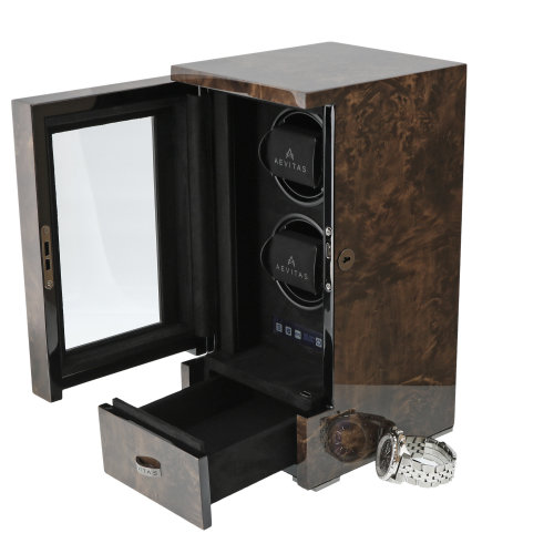 DUAL AUTOMATIC WATCH WINDER DARK BURL FINISH TOWER SERIES BY AEVITAS