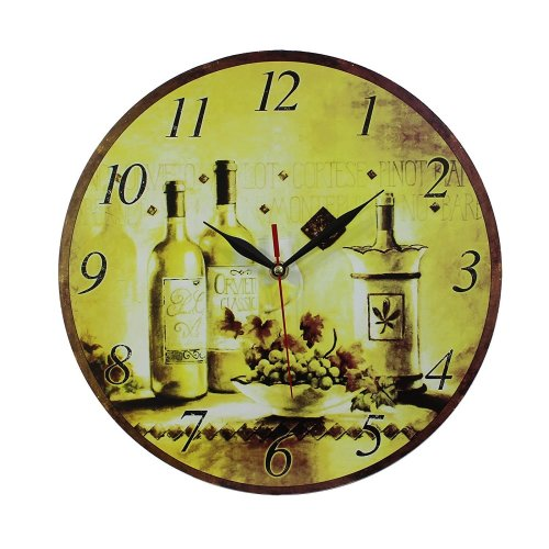 Obique Home Decoration Bottles & Grapes Scene MDF Wall Clock 34cm