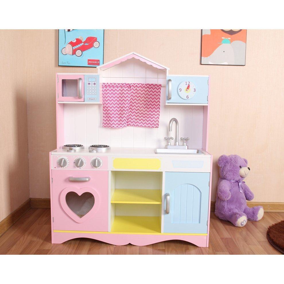 Large Girls Kids Pink Wooden Play Kitchen Children S Role Pretend Set