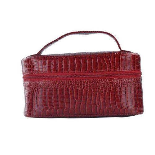 Lemondrop-Chic & Classy Insulated Cosmetics Bag For The Minimalist Cosmoqueens, Red Croc
