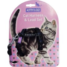 Hem & Boo Nylon Adjustable Cat Harness & Lead Set Diamante Assorted