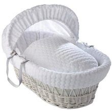 Clair de Lune Marshmallow White Wicker Moses Basket inc. bedding, mattress & adjustable hood (White)