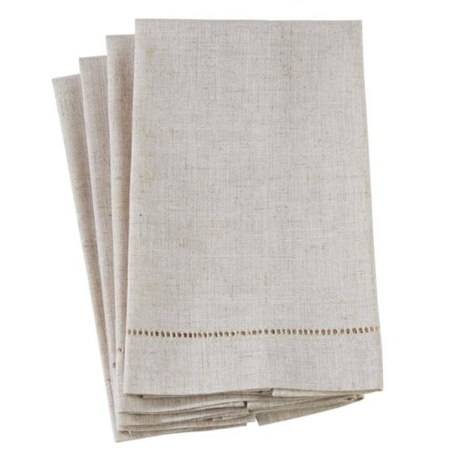 Saro Lifestyle 512.N1422 14 x 22 in. Poly & Linen Blend Guest Towels with Plain Hemstitch Design - Natural