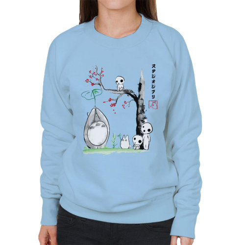 (Small, Sky Blue) Studio Ghibli Growing Trees Sumie Totoro Women's Sweatshirt