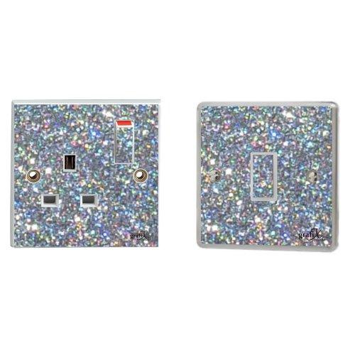 Silver Sequin Sparkle Single Light Switch & Plug Socket Sticker Vinyl / Skin cover