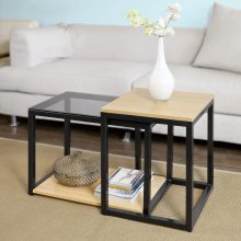 SoBuy® FBT35-SCH, Nesting Tables, Set of 2 Coffee Table Side Table End Table