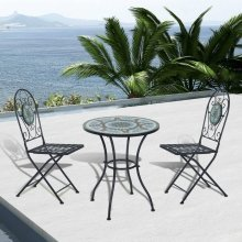 Outsunny 3pc Bistro Metal Set Mosaic Table 2 Seater Folding Chairs