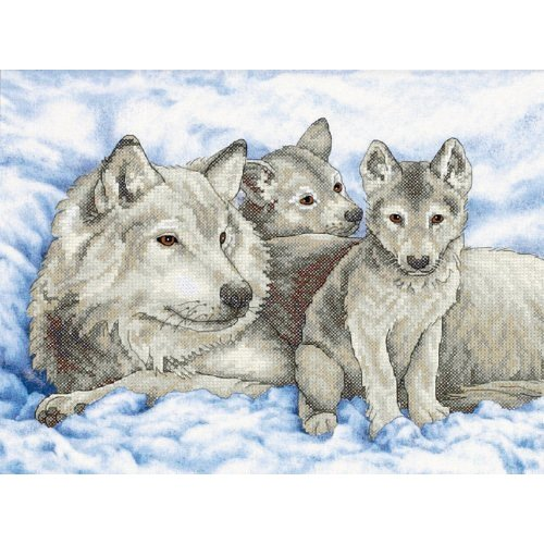D13130 - Dimensions Stamped X Stitch - Mother Wolf and Pups