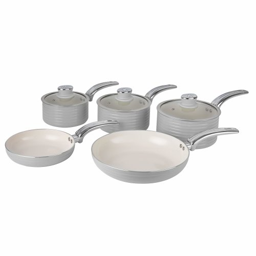 Swan Retro Pan Set with Easy Clean Non-Stick Ceramic Coating, Aluminium, Grey, 5 Piece
