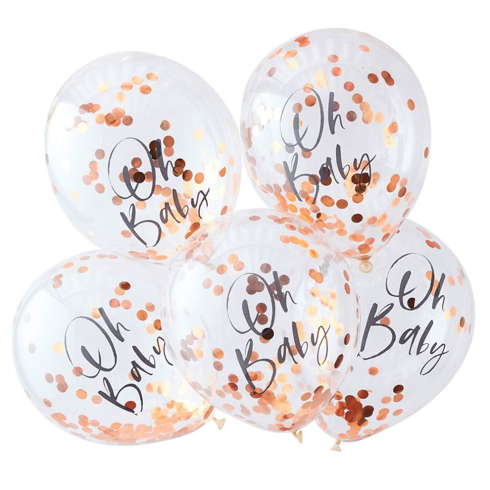 Ginger Ray 5 Rose Gold Confetti Balloons  Wedding Party Baby Shower Hen Do