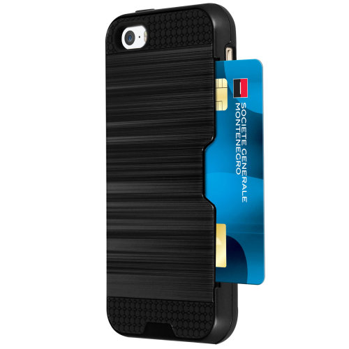 online store af39c 779e7 Defender bi-material Case + card holder for iPhone 5 / 5S / SE - Black