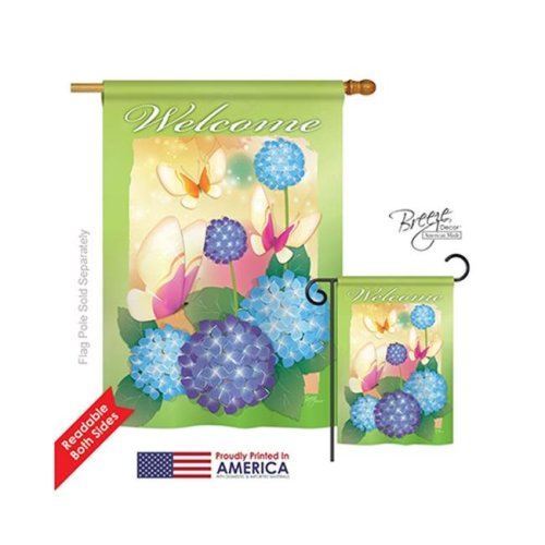Breeze Decor 04065 Welcome Butterflies 2-Sided Vertical Impression House Flag - 28 x 40 in.