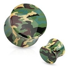 Green Camouflage Printed Acrylic Flesh Tunnel Ear Saddle Plug Earring