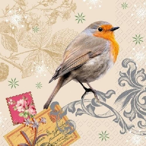 4 x Paper Napkins - Robin - Ideal For Decoupage / Napkin Art