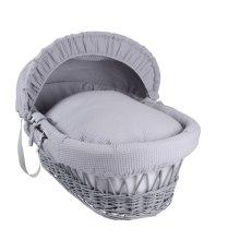 Grey Waffle & Wicker Moses Basket | Wicker Moses Basket