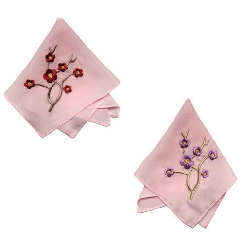 Two Pieces Of Elegant  Retro Plum Flower Embroidered Handkerchiefs-Pink