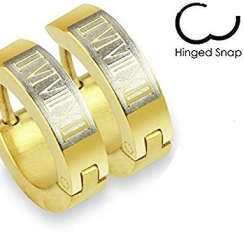 Pair Of Gold Plated with Roman Numerals Stainless Steel Hinged Snap Close Huggy Hooped Earrings 0.8mm Thickness