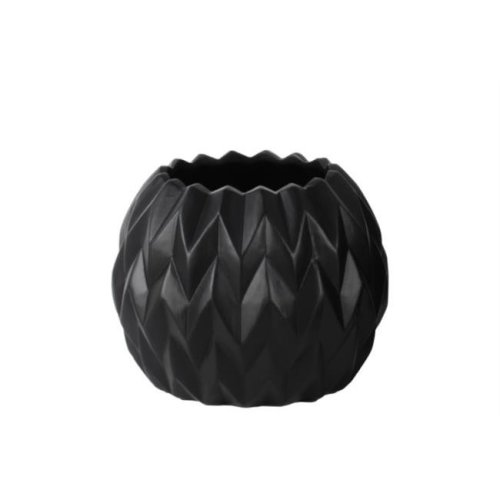Urban Trends Collection 21434 4 Piece Small Matte Black Ceramic Round Low Vase with Uneven Lip & Embossed Wave Design, 5.00 x 5.00 x 23.50 in.